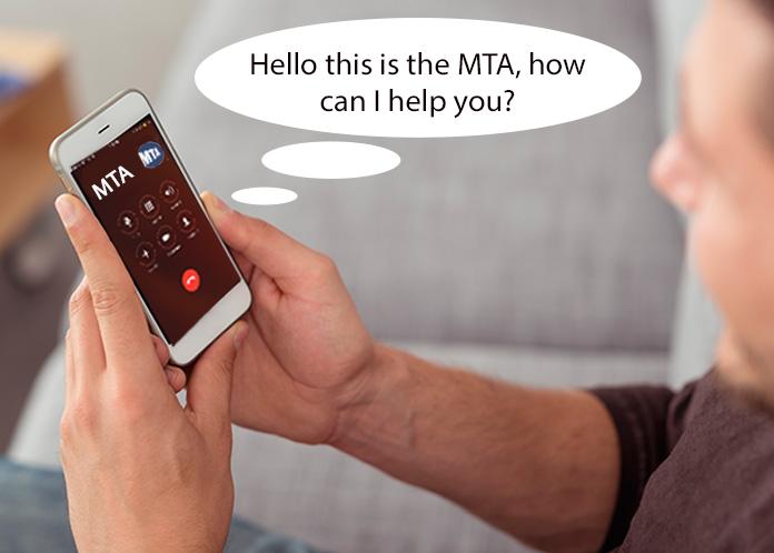 man holding phone calling mta